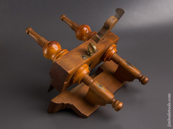 Remarkable! Fancy Beech & Boxwood Plough Plane by MARPLES circa 1856-1965 EXTRA FINE! - 86352