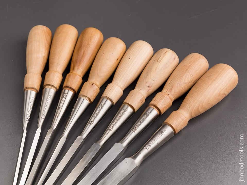 MINT Set of Eight LIE-NIELSEN Chisels in Canvas & Leather Roll! Five Mortise and Three Bevel Edge - 86804