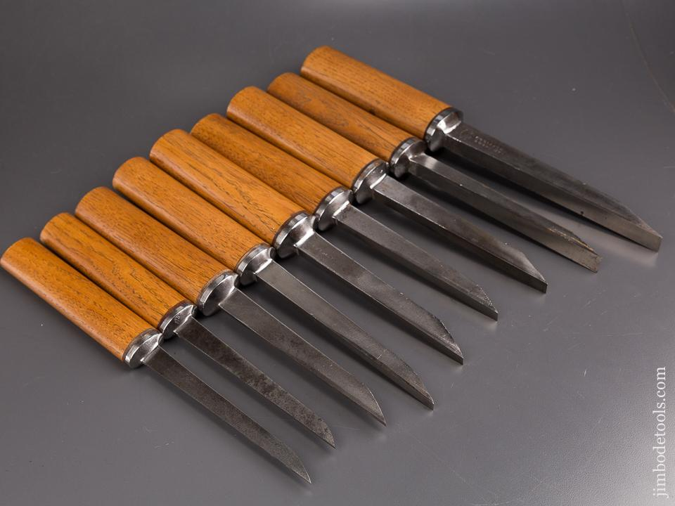 Magnificent! Set of Nine SORBY Pig Sticker Mortise Chisels - 86930