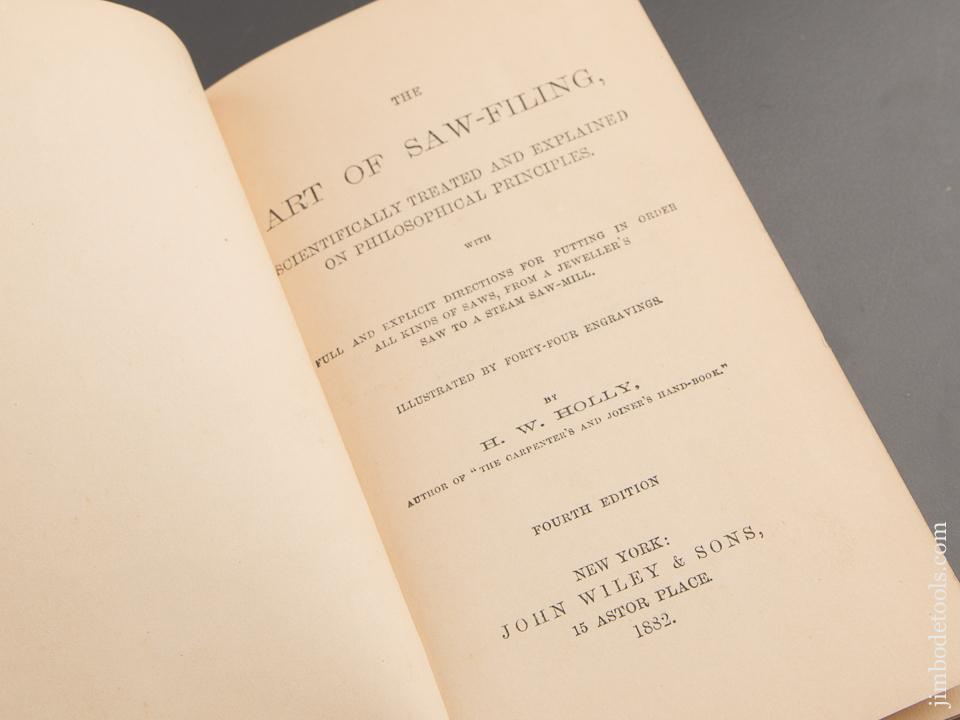 RARE 1882 Book:  ART OF SAW-FILING by H.W. HOLLY GOOD+ - 87293