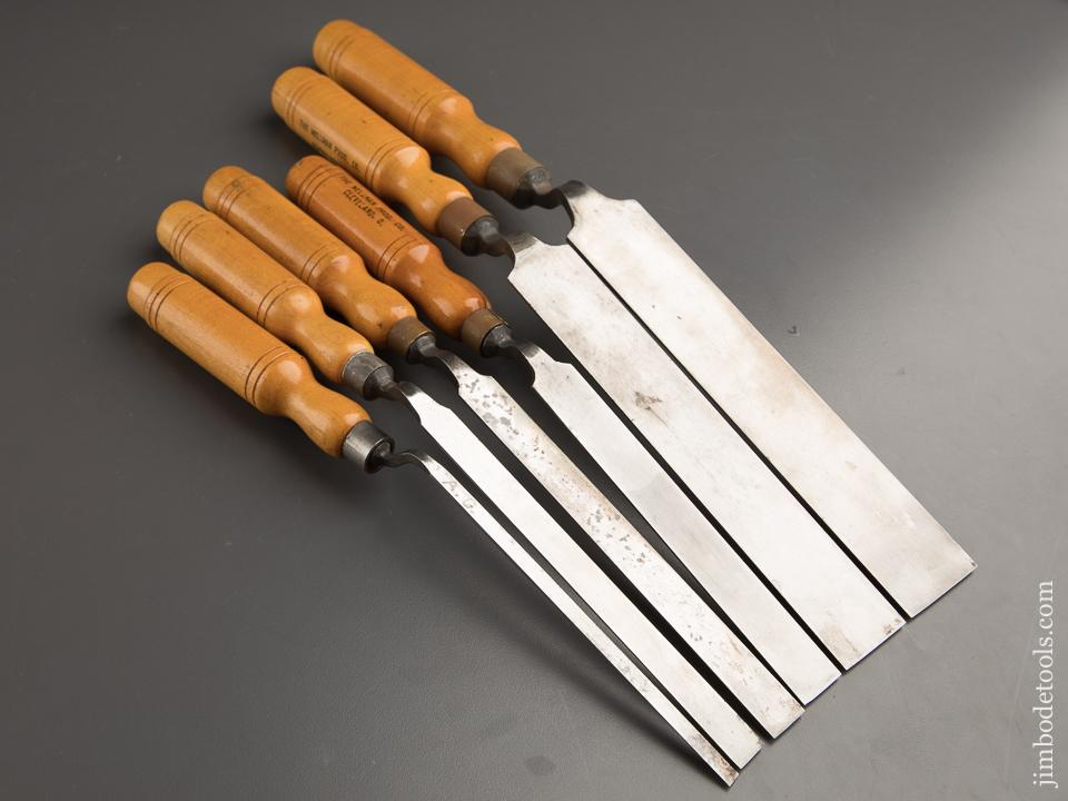 Extra Extra FINE Set of Six BUCK BROS Pattern Maker's Crank Neck Paring Chisels - 87404