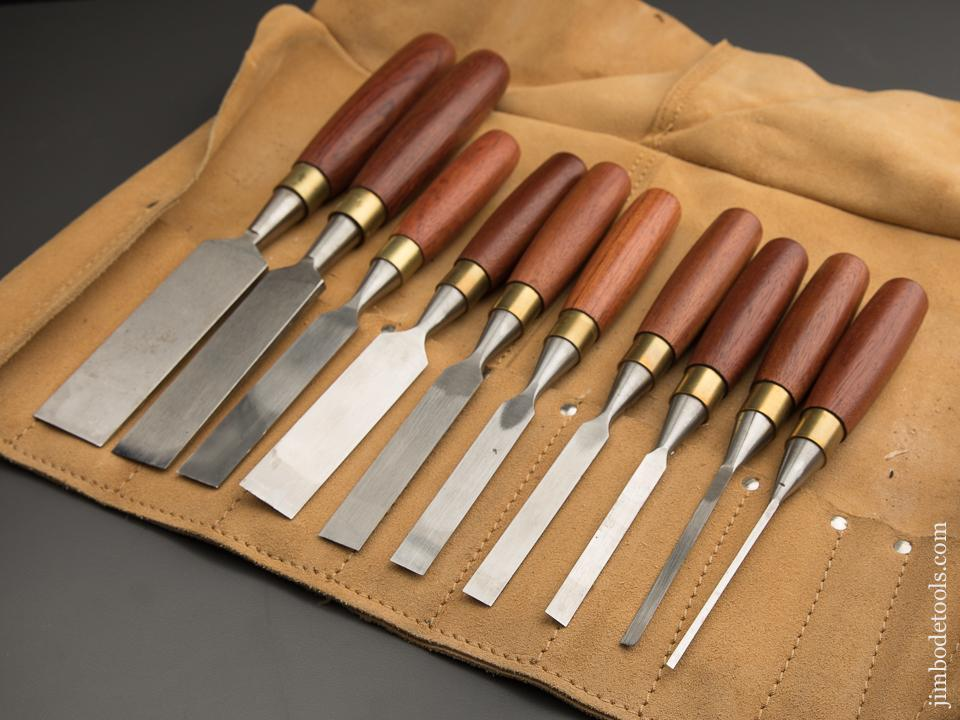 MINT Set of Ten ASHLEY ILES MK2 Bench Chisels in Leather Roll - 87434