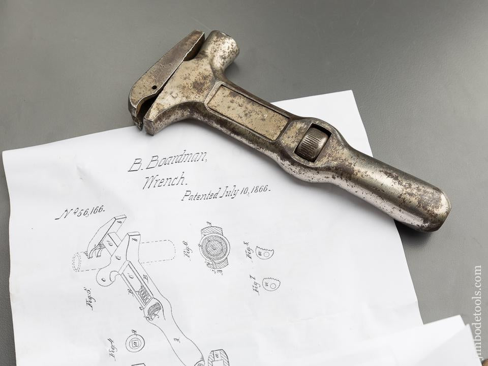 BOARDMAN Patent July 10, 1866 Adjustable Wrench Hammer Combination Tool by TOWER & LYON - 87466