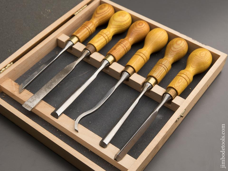 Set of Six RECORD Carving Tools MINT in Original Wooden Box - 87468