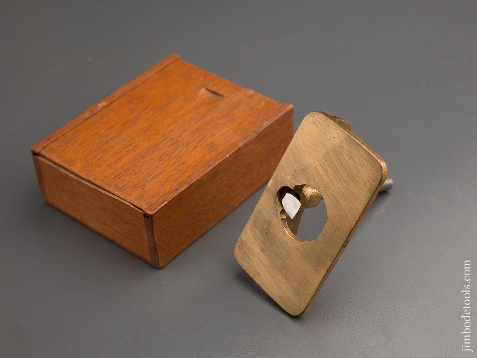 1 3/4 x 3 1/4 inch Brass Router Plane with 1/4 inch Cutter in Wooden Box - 87469