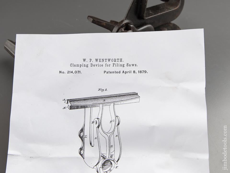 WENTWORTH Patent April 8, 1879 Quick Release Saw Vise by LADD TOOL CO NY - 87536