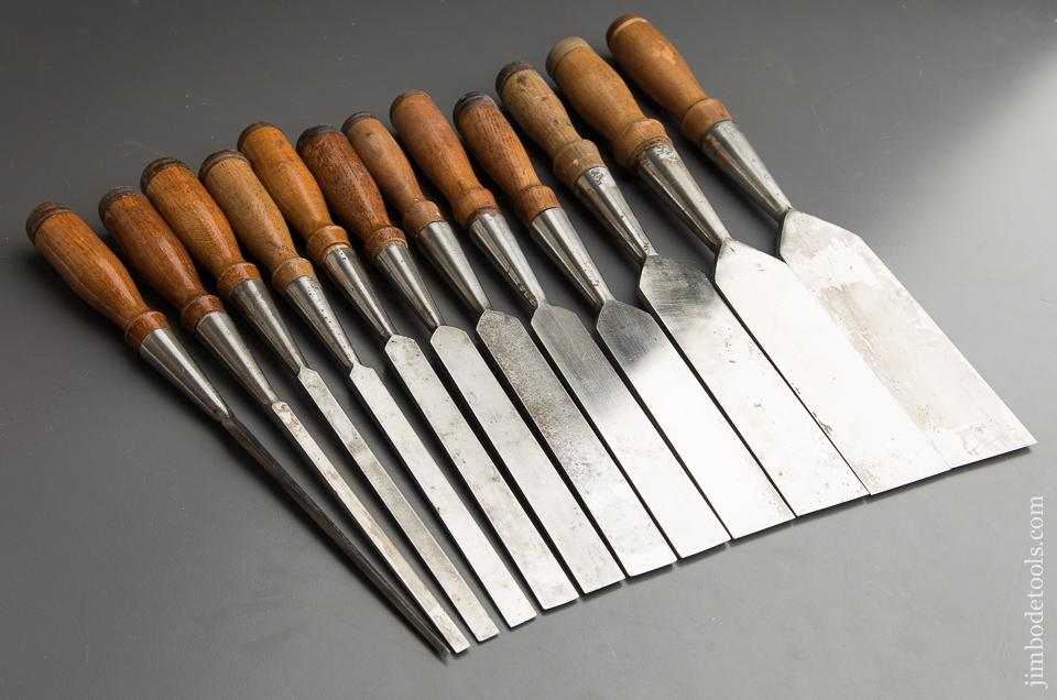 Fantastic Set of Twelve G.I. MIX & CO Socket Firmer Chisels in Canvas Roll - 87559