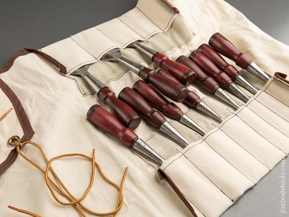 Stunning Set of Eleven STANLEY No. 750 Socket Chisels in Roll - 87711