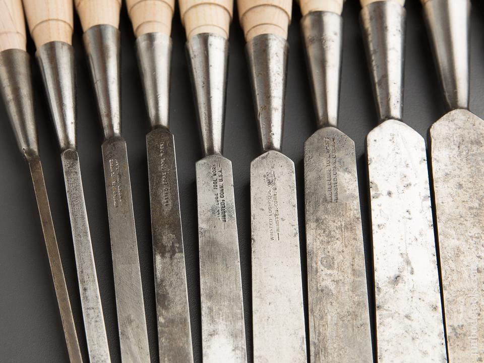FULL Set of Twelve T.H. WITHERBY Socket Firmer Chisels in Canvas Roll - 87712