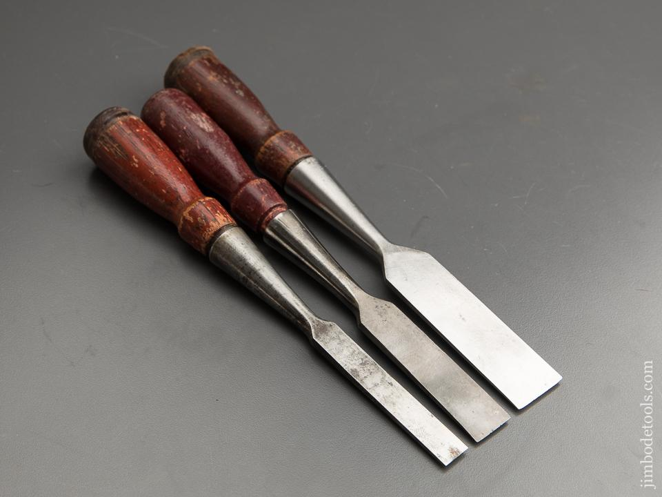 EARLY Set of Three STANLEY No. 750 Chisels - 87722