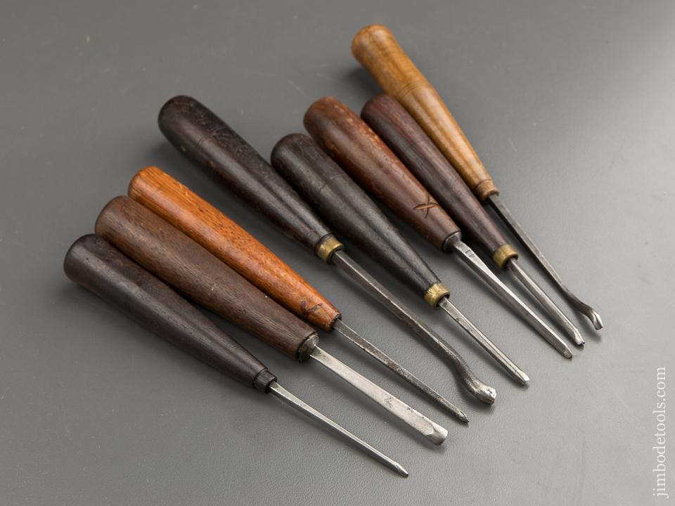Eight Nice Carving Chisels by O. LINDER - 87731