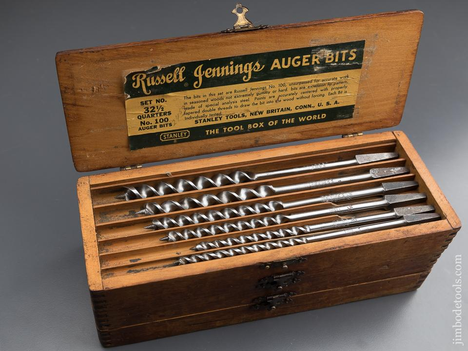 Complete Set of 13 RUSSELL JENNINGS Auger Bits in Original 3 Tiered Box - 87768