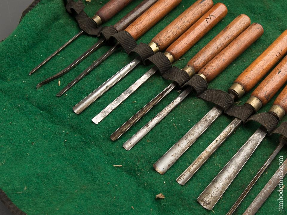 Twenty Clean ADDIS Carving Chisels in Roll - 87773