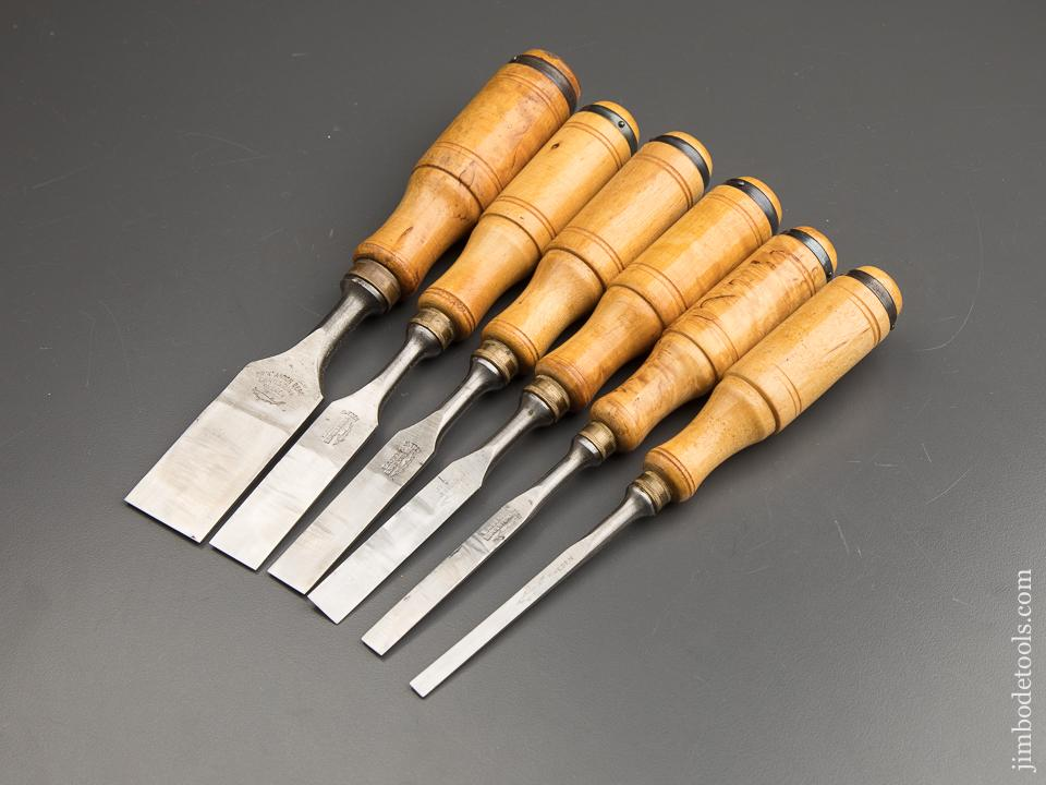 E.A. BERG ESKILSTUNA No. 9192 Wood Chisel Set of Six in Original Wooden Box with Decals - 88126