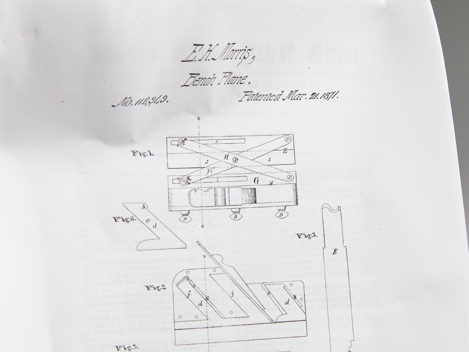 MORRIS Patent March 21, 1871 Type One Scissor Arm Plow Plane with One Iron - 88313 - AS OF AUG 7