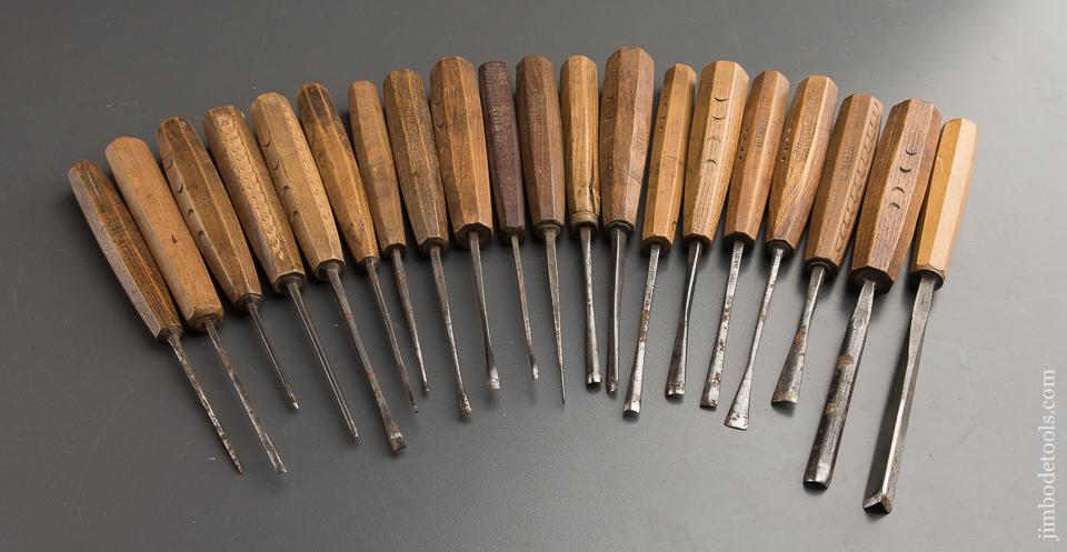 Good Set of Twenty EARLY Carving Chisels - 88698