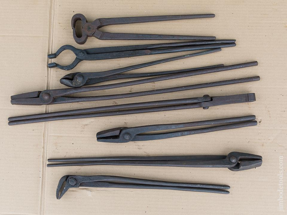 Great Collection of Eight Good Blacksmith's Tongs - 88700