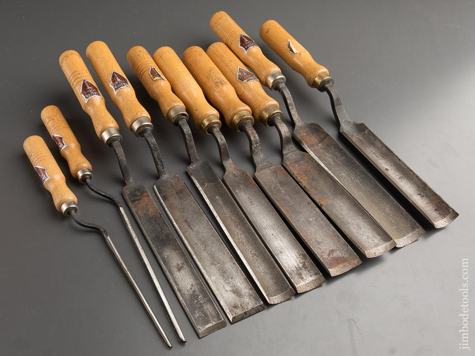 Great Set of Ten DASTRA TOOLS Pattern Maker's Crank Neck Gouges with Decals UNUSED! - 88710
