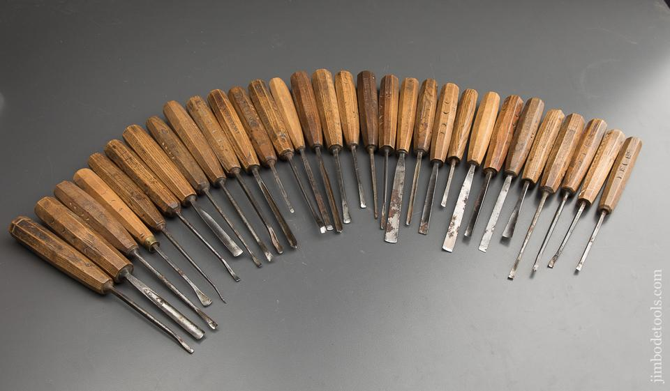 Wonderful Set of 31 HENRY TAYLOR Carving Chisels - 88728