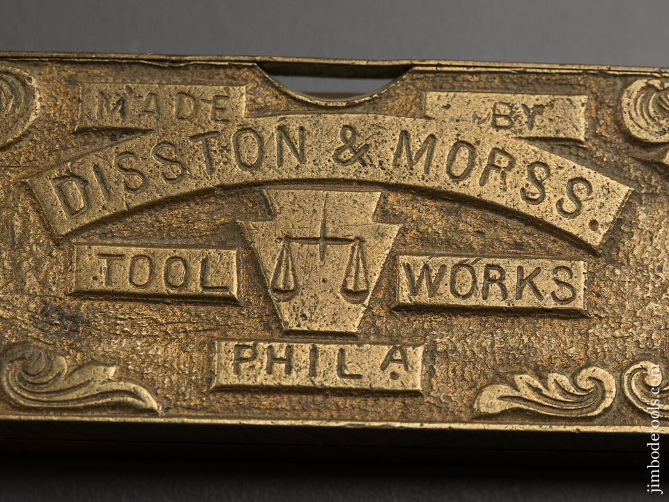 Ornate and Amazing 1868 FISHER PATENT Bevel Square Protractor Level by DISSTON & MORSS TOOL WORKS --- 88739R