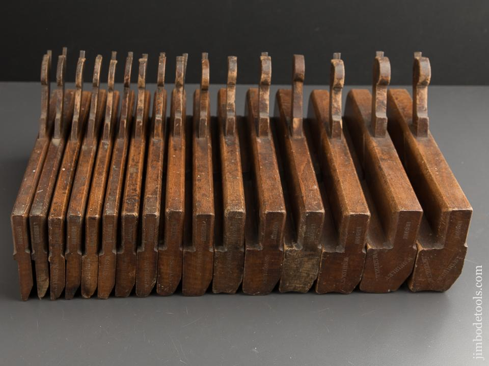 Matched Working Set of 16 Hollows & Rounds Moulding Planes ALL by HIGGS London circa 1785-1828 ODD - 88763