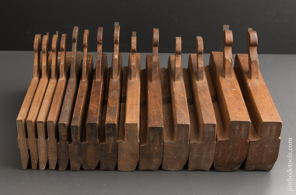 Matched Set of Fourteen Hollows & Rounds Molding Planes by BARRY & WAY N. YORK circa 1842-47 EVENS - 88797