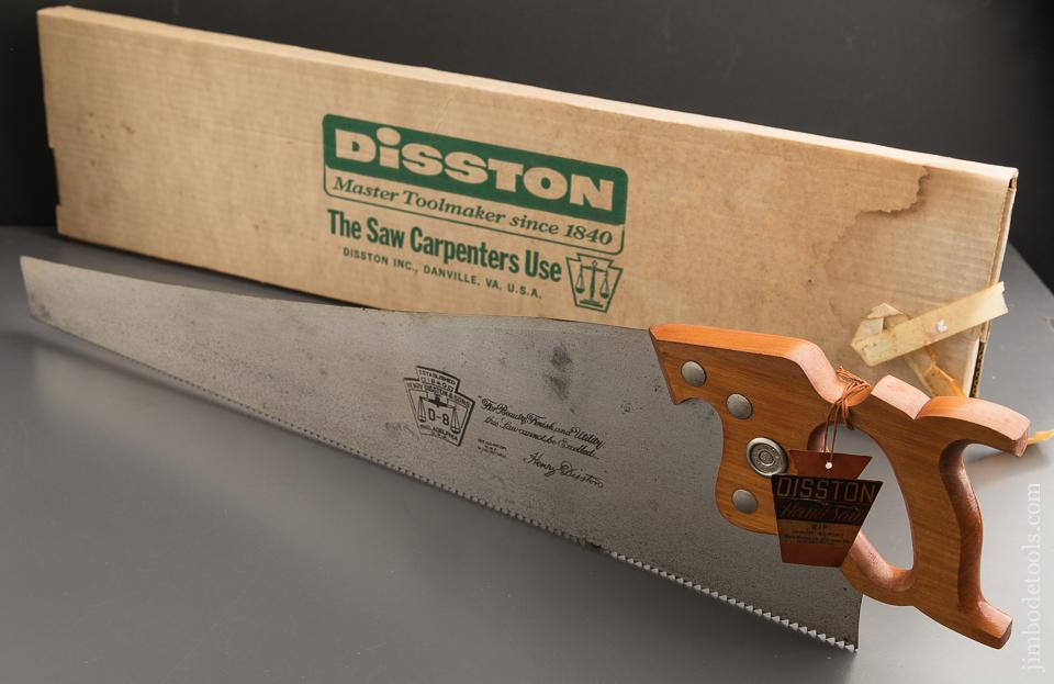 UNUSED! 5 1/2 point 26 inch Rip DISSTON D8 Hand Saw with Tag MINT in Original Box - 88942