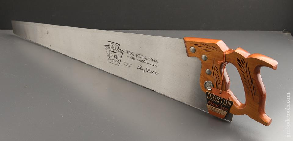 UNUSED! 9 point 26 inch Crosscut DISSTON D23 Hand Saw with Tag MINT in Original Box - 88943