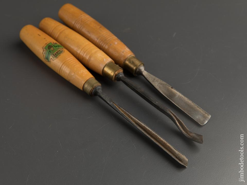 Three HENRY TAYLOR Boxwood Handled Carving Gouges - 88947