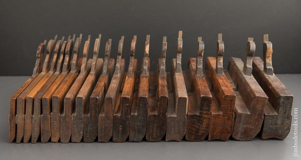 Complete Working Set of 18 Hollows & Rounds Molding Planes by MATHIESON circa 1854-1924 Numbered 2-18 EVENS - 89035