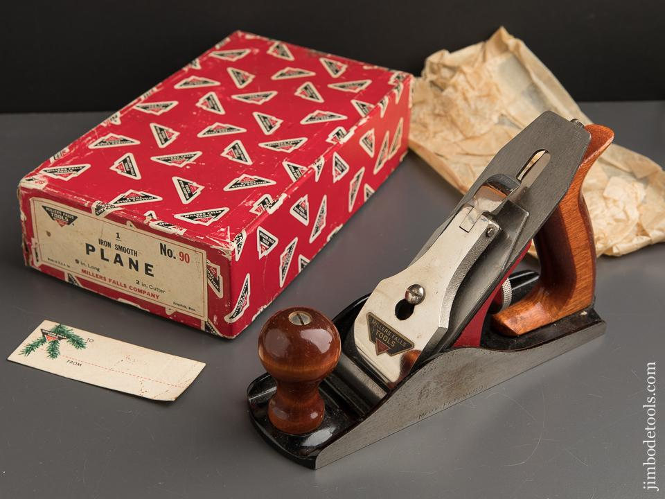 MILLERS FALLS No. 90 Smooth Plane with MILLERS FALLS Tag in Christmas Box! - 89088