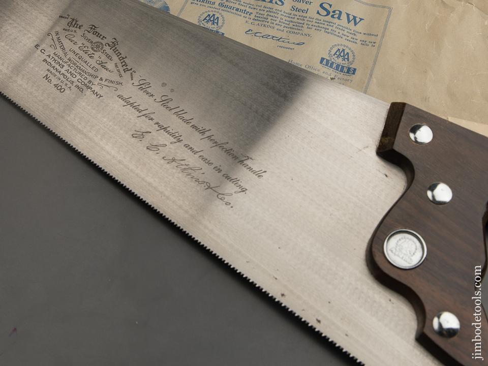12 point 26 inch Crosscut E.C. ATKINS Rosewood Handled THE FOUR HUNDRED Hand Saw MINT in Original Box - 89173