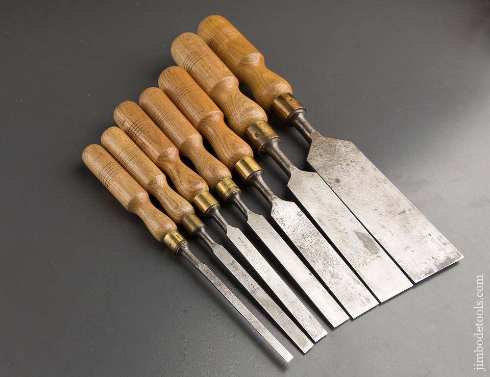 Great Set of Seven Vintage MARPLES Firmer Chisels - 89401