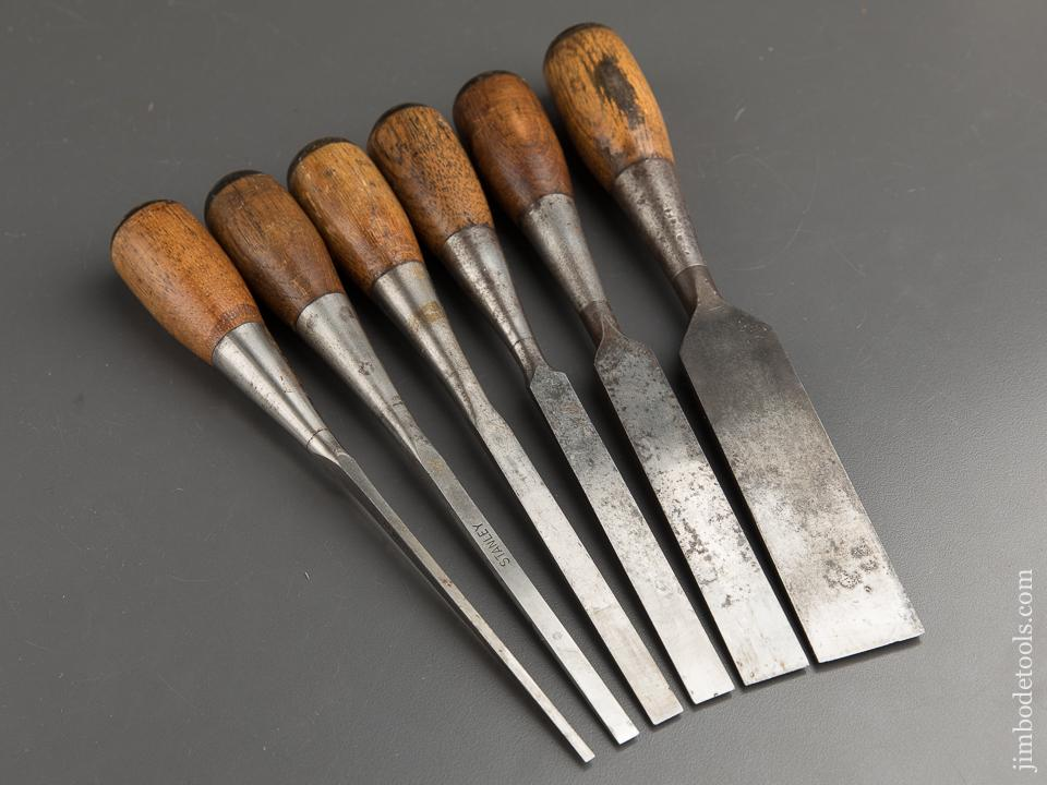 Crisp Set of Six STANLEY No. 40 EVERLASTING Chisels 1/8 to 1 1/4 inches - 89430