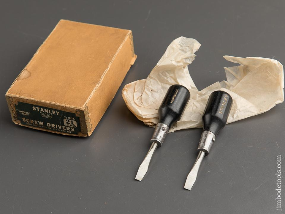 Two STANLEY No. 21 Screw Drivers MINT in Original Box - 89432