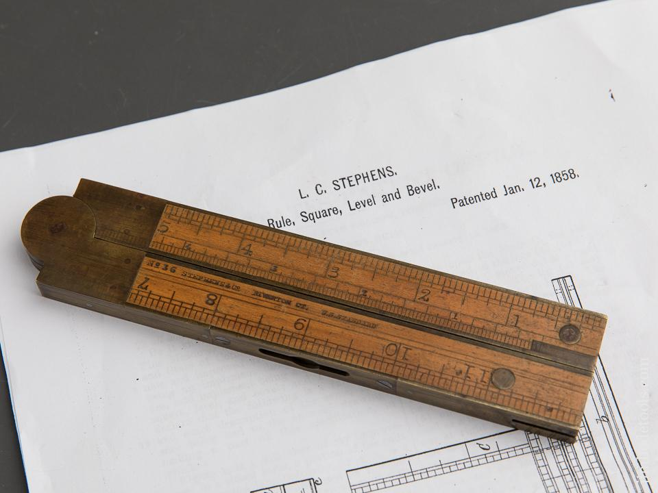 Twelve inch STEPHENS Patent January 12, 1858 Boxwood & Brass No. 36 Level/Inclinometer/Folding Rule - 89438