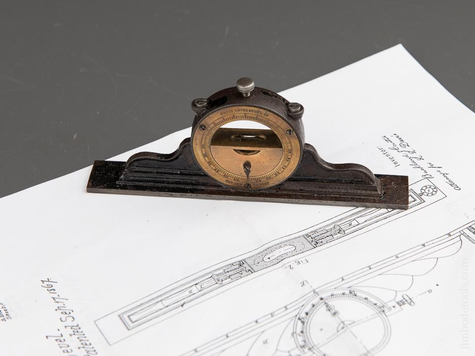 Early Six inch DAVIS Patent September 17, 1867 Inclinometer Level - 89445