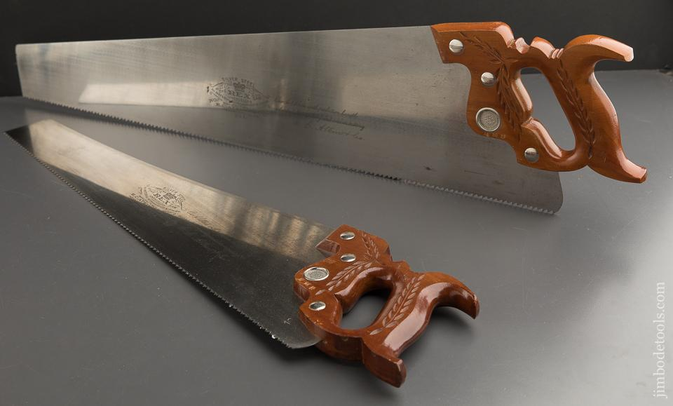 Magnificent Set of Two ATKINS Saws NEW OLD STOCK No. 68 & No. 69 Rip and Crosscut - 89456U
