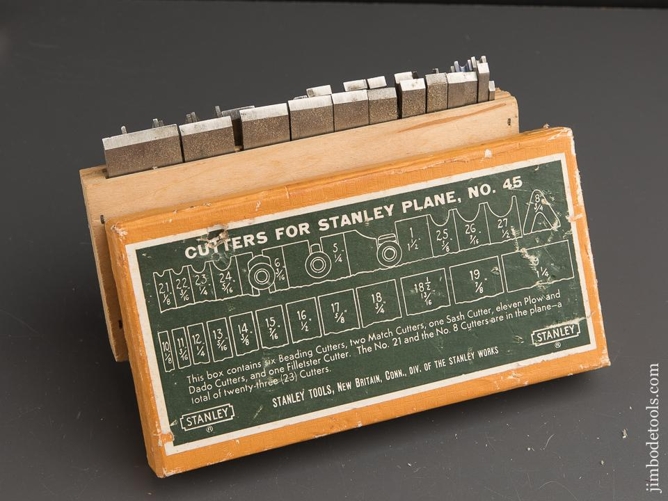 COMPLETE Set of 22 Cutters for STANLEY No. 45 Combination Plow Plane in Original Box - 89509