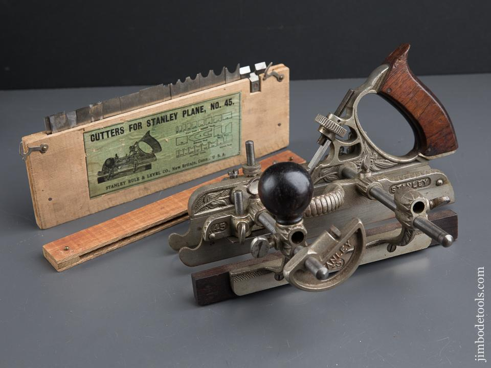 STANLEY No. 45 Combination Plow Plane with Three Stops AND 19 Cutters - 89785