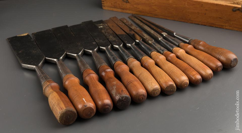 Magnificent! Set of Twelve C.E. JENNINGS Socket Firmer Chisels in Original Box - 89792
