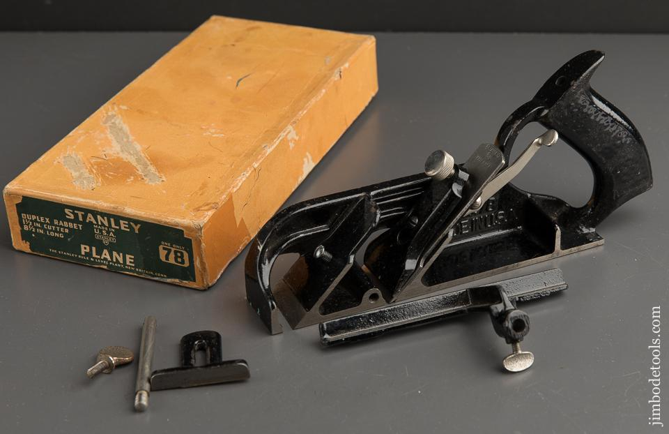 STANLEY No. 78 Duplex, Rabbet, and Filletster Plane MINT in Original Box SWEETHEART - 89797