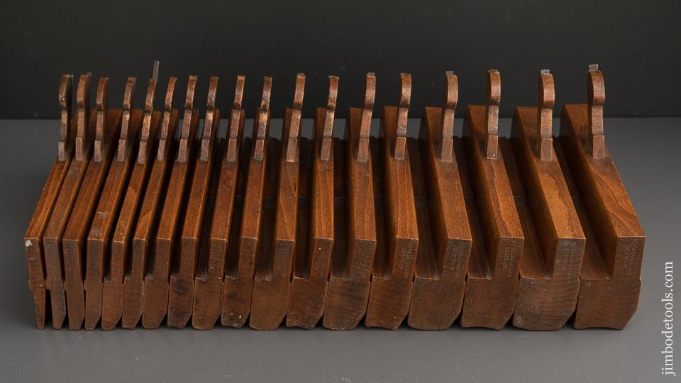 FINE Complete Working Set of 18 Hollows & Rounds Moulding Planes by MOSELEY Numbered 2-18 circa 1862-80 EVENS - 90045