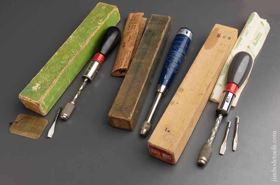 Three Tools in Original Boxes:  Two YANKEE HANDYMAN No. 133H Spiral Ratchet Screw Drivers and One CRAFTSMAN No. 4216 Automatic Drill - 90780