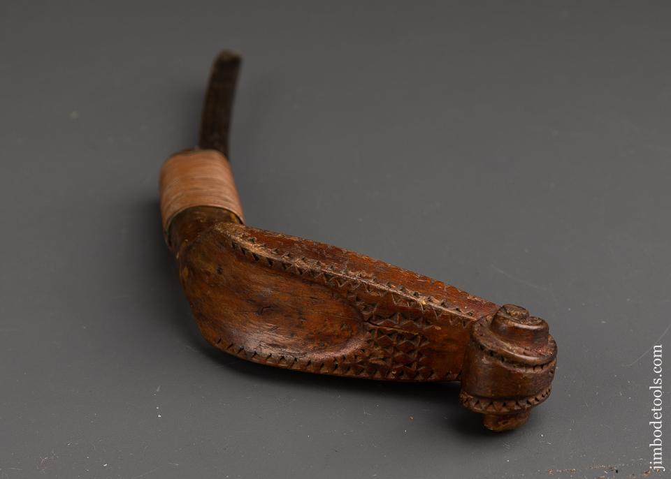 Early and Remarkable! Hand carved Copper Wire-Wrapped Fiddlehead Crooked Knife - 91254U