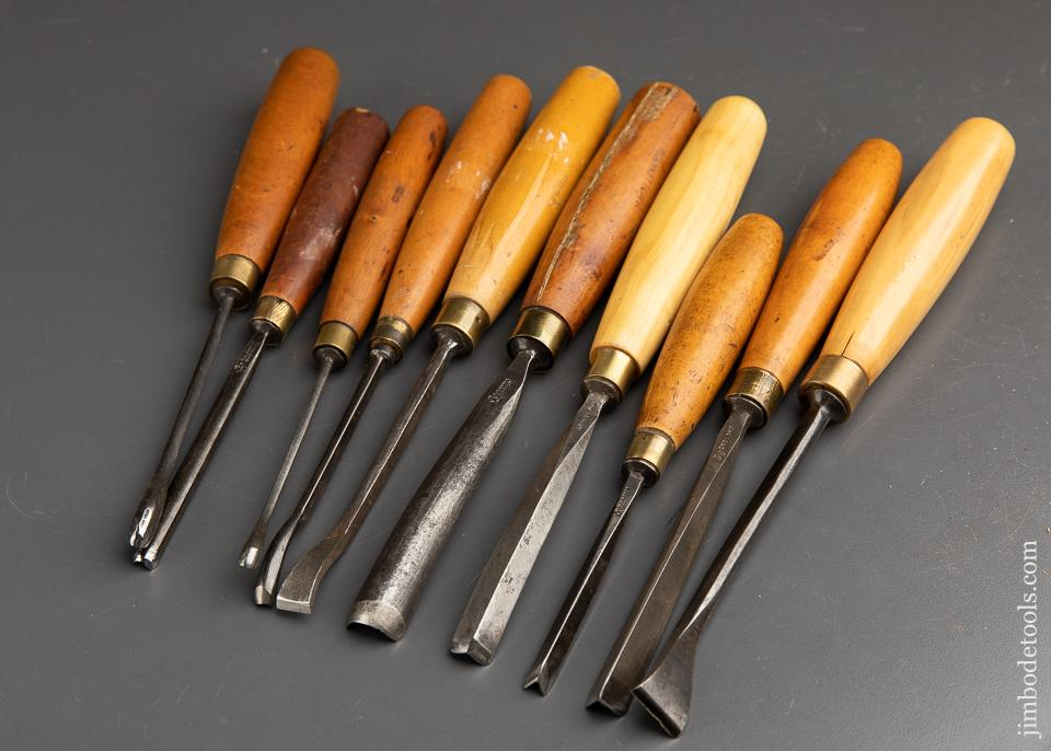 Ten FINE Carving Gouges by ADDIS with Boxwood Handles - 91664