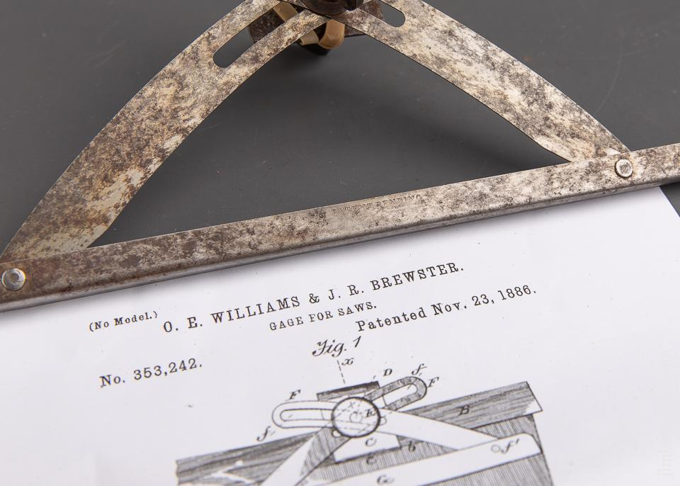 Rare! WILLIAMS & BREWSTER Patent November 23, 1886 Saw Depth Gauge - 91699