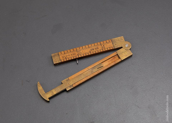 Extra Fine Six inch CHAPIN-STEPHENS Boxwood & Brass Folding Caliper Rule - 92162