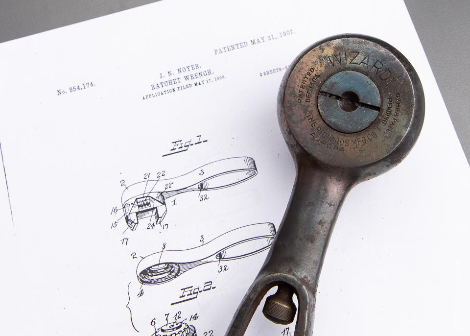 NOYER'S PATENT Ratchet Nut Wrench PAT. MAY 21, 1907 - 92886
