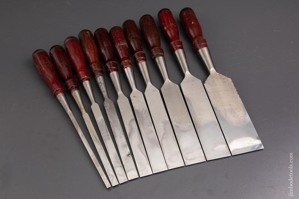 Better-Than-Mint Set of 10 STANLEY No. 720 Long Paring Chisels - 93042
